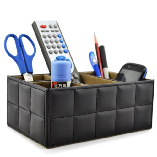 Earlygreen Pu Leather Remote Control/controller Tv Guide/mail/cd Organizer/caddy/holder Home Organizer Desk Organizer Black Color (Basket Coffee Table)