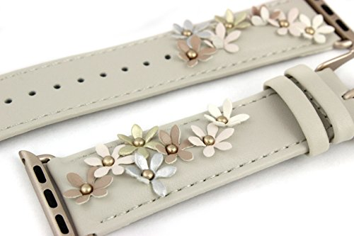 Prime-Time-Apple-Watch-Band-Genuine-Leather-38mm-Replacement-Straps-for-Smart-Watches-iWatch-with-Flower-Applique