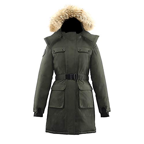 Coyote Fur Parka - Triple F.A.T. Goose Arkona Womens Hooded Arctic Parka with Real Coyote Fur (Medium, Olive)