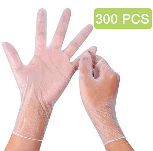 Disposable Plastic Kitchen Gloves,300pcs Plastic Disposable Food Prep Gloves, Disposable Polyethylene Work Gloves for…
