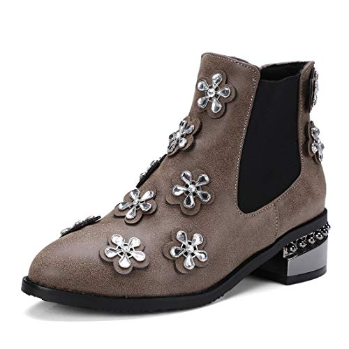 brown Botas y Zapatos para Sandalette Mujer Moda Botas Diamantes Flores de Botas Americanas de Botas DEDE de aTqUqwx1P
