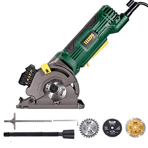 """Circular Saw with Laser, TECCPO 4.0A 3-1/3"""" Compact Circular Saw, 3500 RPM Fine Copper Motor, Scale Ruler, 3 Blades for Wood, Tile, Soft Metal and Plastic Cuts - TAPS22P"""