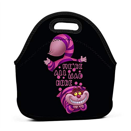 Lunch Boxes Neoprene Lunch Bag by Tote Washable Insulated Waterproof for Men Women Kids, Alice in Wonderland Cheshire CAT