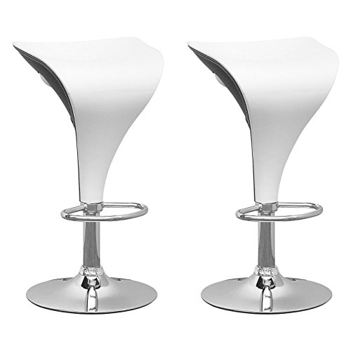 Set of 2 Futuristic Adjustable 2-Toned Barstools with Cozy Leatherette Seat, Sturdy Chrome Base and Footrest, Gas Lift Button Adjustment, Swivels, White on Black + Expert Home Guide by Love (Base Footrest)