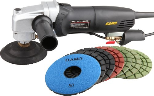 "DAMO Variable Speed Stone Polisher 5"" Concrete Polisher Grinder Wet Polishing Kit for Concrete Floor Countertop"
