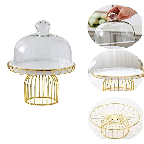 ChenB - Mesa de centro decorada con platos de fruta, base dorada, decoracion principal para tartas, cubierta de cristal, pequeno