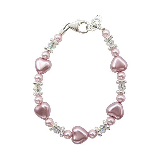 Rose and Pink heart bracelet with Swarovski crystals infant girl spring bracelet (B1703_M) (Daisy Silver Baby Bracelets)