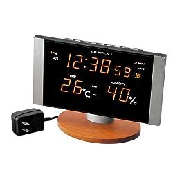 ADESSO ( Adesso ) radio digital alarm clock orange LED display temperature and humidity display C-8305OR