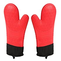 STYLISH BBQ Oven Mitts Silicone Cooking Gloves Heat Resistant Grill Gloves Extra Long Oven Baking Mitts (1-Pair)