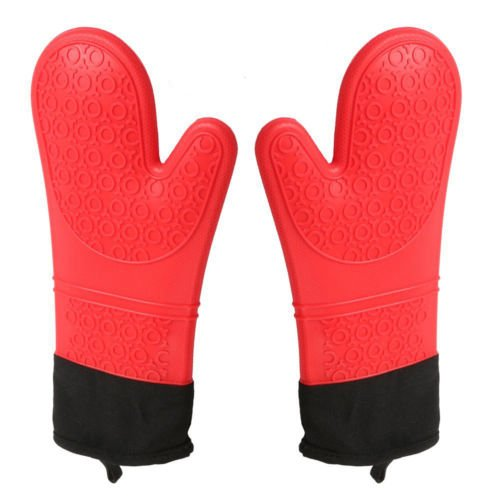 STYLISH BBQ Oven Mitts Silicone Cooking Gloves Heat Resistant Grill Gloves Extra Long Oven Baking Mitts (1-Pair) Stylish International Inc.