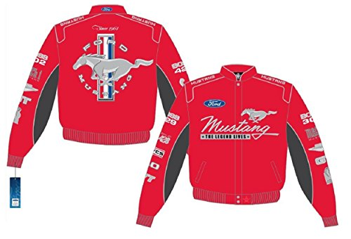 ford mustang red cotton jacket embroidered logos size. Black Bedroom Furniture Sets. Home Design Ideas