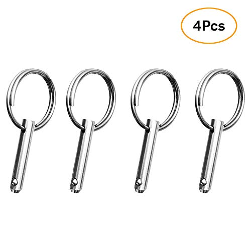 Amadget Stainless Steel Bimini Top Ball Hinge Pin, 4 Pack Quick Release Pins 1/4