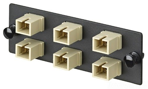 Panduit FAP6WEISC Multi-Mode 6-Port Fiber Adapter Panel with Phosphor Bronze Split Sleeve, Electric Ivory
