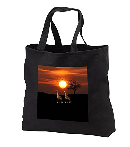 Beverly Turner Animal Design - Giraffe Couple Enjoying the Sunset, Birds Flying in the Background - Tote Bags - Black Tote Bag 14w x 14h x 3d (tb_282095_1) by 3dRose