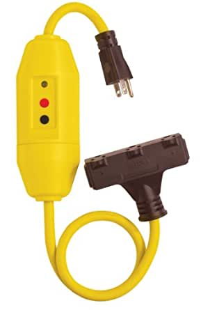 Tower Manufacturing 30338024 2' Length, 15 amp In-Line GFCI And Triple Tap Cord Set With Auto Reset