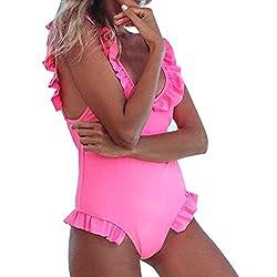 Uribake 2019 Women S Pink One Piece Bikini Sexy Backless Ruffled Swimsuit Push Up Filled Bra Beachwear