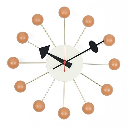LCH Wooden Ball Clock, Handmade Antique Retro Classic Mid-Century Modern Wall Clock, Designed by George Nelson (Orange)