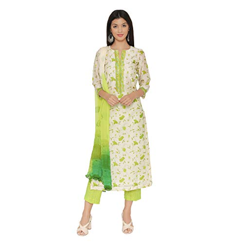PinkShink Beige and Green Block Printed Pure Chanderi Kurta Pants Dupatta Set (XL) d272xl