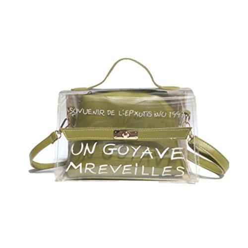 JAGENIE Women's PVC Transparent Sac à bandoulière Transparent fourre-Tout Crossbody Sacs d'été Sac à Main Rose Vert