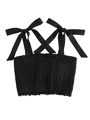 Shirred Knot (ROMWE Women's Sexy Strappy Shirred Smock Crop Top Vest Tank Cami Black S)