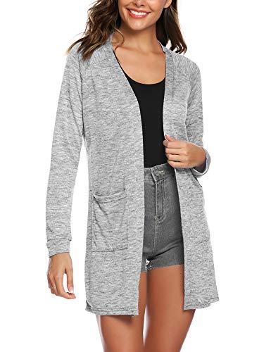 - URRU Fashion Womens Sleeveless Open Front Waterfall Draped Cardigan Sweater Vest Grey XL