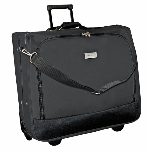 Geoffrey Beene Deluxe Rolling Garment Bag - Travel Garment Carrier With Wheels - Black