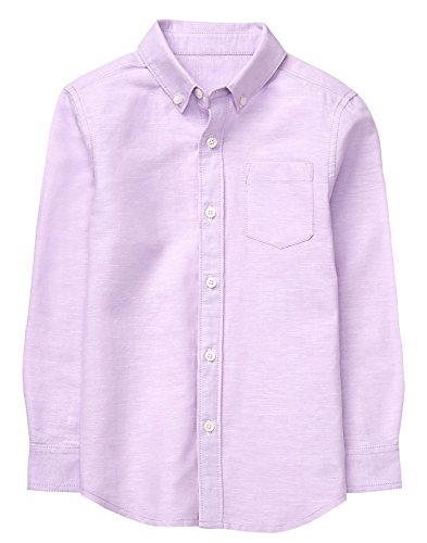 Gymboree Little Boys' Long Sleeve Button up Shirt, Lavender, (Little Kids Lavender Apparel)
