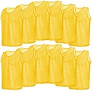 12 Pack Sports Training Vests,Soccer Pinnies Scrimmage Training Vests Mesh Breathable for Adults Youth Jerseys