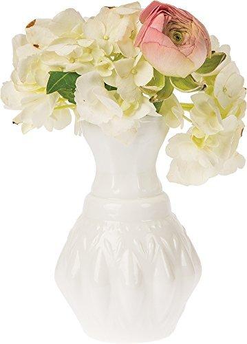 Luna Bazaar Vintage Milk Glass Vase (4-Inch, Bernadette Mini Ribbed Design, White) - Decorative Flower Vase - for Home Decor, Party Decorations, and Wedding Centerpieces