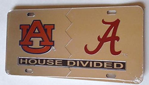 Auburn Tigers - Alabama Crimson Tide - House Divided Silver Mirrored Car Tag License Plate
