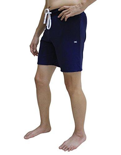 YogaAddict Yoga Shorts for Men, Quick Dry, No Pockets, for Any Yoga (Bikram, Hot Yoga, Hatha, Ashtanga), Pilates, Gym, Navy Blue with Inner Liner - Size L ()