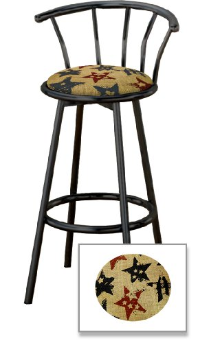 Cheap New 29″ Tall Black Metal Finish Swivel Seat Bar Stools with Stars Burlap Seat Cushions!