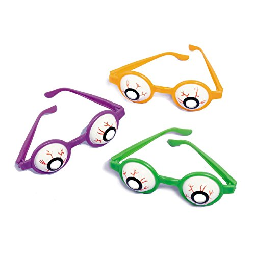 Family Friendly Halloween Trick or Treat Creepy Eyeball Glasses Party Favour, Plastic, 5