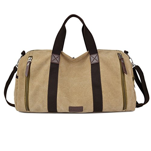 S-cool shop High Capacity Weekend Bag for Outing or Traveling Durable Handbag Men's Valise Sling Messenger Bag (khaki)