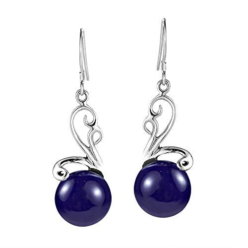 Ethereal Moon Simulated Blue Lapis-Lazuli Stone Inlay .925 Sterling Silver Dangle Earrings