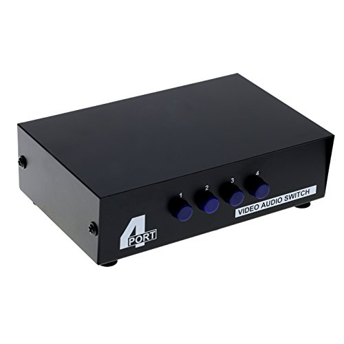 (Optimal Shop 4 Port Input 1 Output Audio Video AV RCA Switch 4 ways Selector Splitter Box)