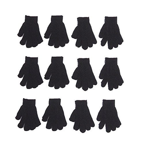 Girls Black Magic - Children Warm Magic Gloves 12 Pairs Toddler Winter Gloves Baby Girls Knit Gloves(2 to 6 years old) (Black_)