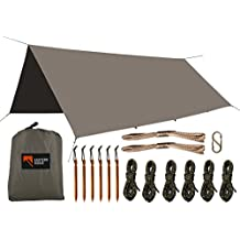 Camping Tarp - Waterproof Windproof Lightweight Durable Rainfly Shelter For Hammock or Ground Camping