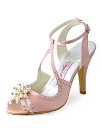 ElegantPark EP11058 Women Sandals Peep Toe Pearls Cross Strap High Heel Satin Wedding Bridal Shoes