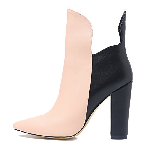 For Toe Ankle Pointed Black Boot Nude Women Block Heel And Onlymaker 5YPqw