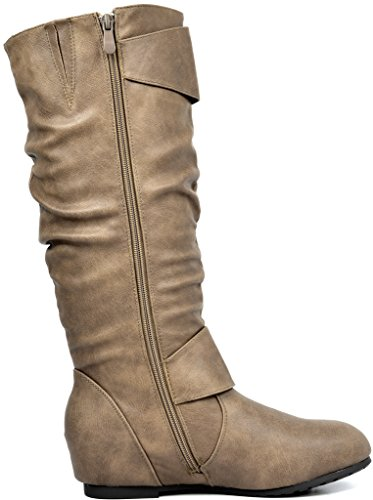 Boots DREAM Wedge High Wide Knee Ura PAIRS khaki Calf wide calf Hidden Women's Low YqrY0