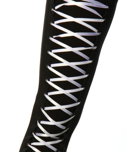 Leggings Leggings mit Schnürung schwarz-weß