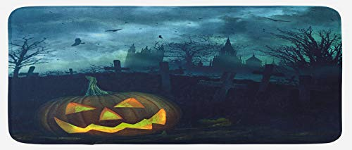 (Lunarable Halloween Kitchen Mat, Halloween Pumpkin in Spooky Graveyard Eerie Gloomy Stormy Atmosphere, Plush Decorative Kitchen Mat with Non Slip Backing, 47 W X 19 L Inches, Petrol Blue)