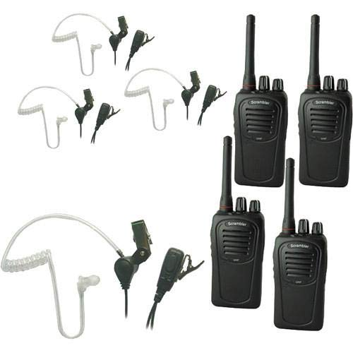 Eartec SC-1000 4-User Two-Way Radio System with 4X SST PTT Lapel Mic Headsets -