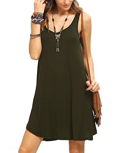 Romwe Women's Sleeveless Summer Swing Tank Sundress Army Green XL