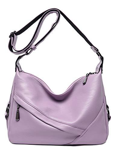 Women's Retro Sling Shoulder Bag from Covelin, Leather Crossbody Tote Handbag Light Purple 2 ()