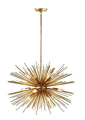 30 Inch Astra Sputnik Satellite Pendant Light Gold Spike Chandelier Starburst Lamp