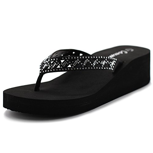 Ollio Cammie Women's Wedges Thong Sandals With Cut Out Stud Strap (8 B(M) US, Black)