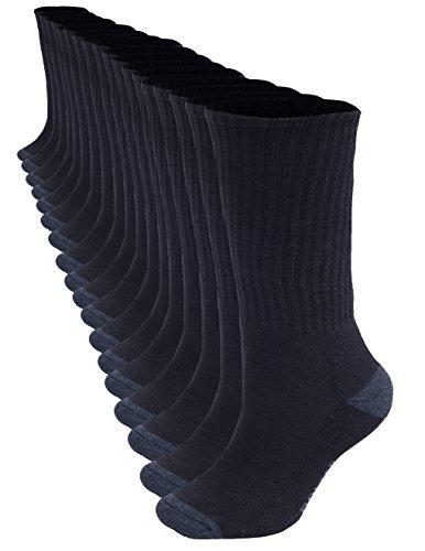 - 18 Pack Bolter Men's Crew Socks (8-12, Black)