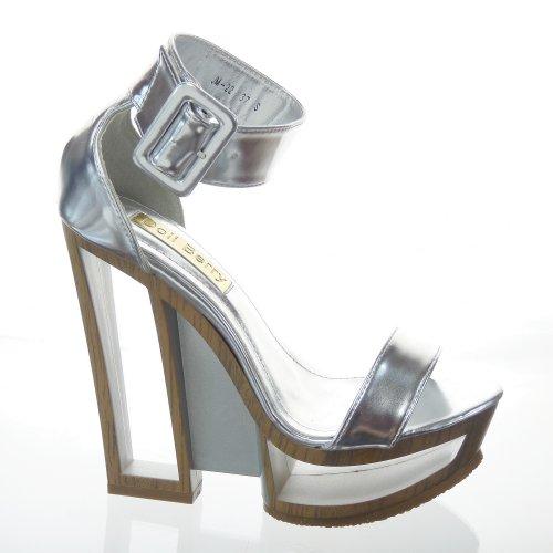 Kickly–Zapato Mode zapato plataforma cuña plataforma tobillo mujer moderno talón plataforma 14cm–Plata